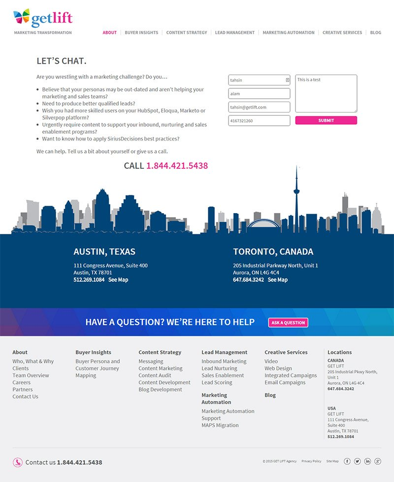 Get Lift Contact Page