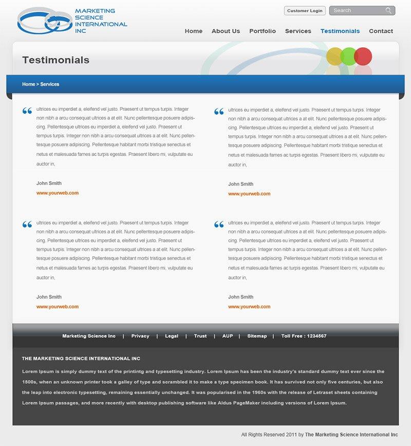 MSII - Testimonial Page